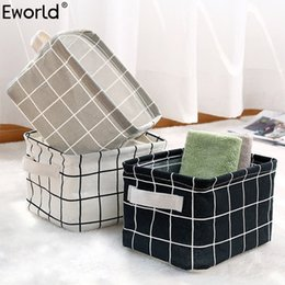 $enCountryForm.capitalKeyWord Australia - wholesale Cute Printing Waterproof Desktop Storage Organizer Bag Cotton Linen Sundries Storage Box Cabinet Underwear Storage