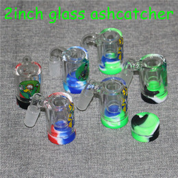 $enCountryForm.capitalKeyWord Australia - New Rick 14mm Male Glass Ash Catcher with 5ml silicone containers straight silicone bong water bong glass bong oil rig for smoking pipes