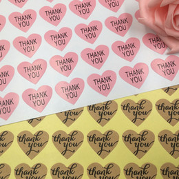"$enCountryForm.capitalKeyWord Australia - 600pcs lot Pink heart "" Thank you"" Sticker Labels Seals Gift stickers for Wedding seals Envelope label"