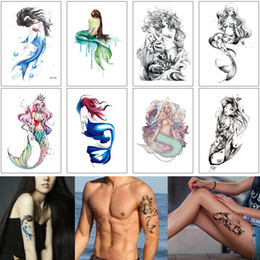 art arm Australia - Beauty Mermaid Body Makeup Tattoo Transfer Paper Temporary Waterproof Tattoo Sticker for Woman Man Arm Back Leg Sleeve Art Decal Summer Gift