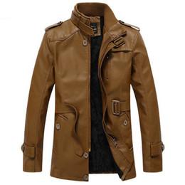 Discount military motorcycle jackets - Winter Military Jackets Men Outwear Bomber Jacket Fashion Pu Motorcycle Leather Jacket Coats Jaqueta De Couro Mascu Drop