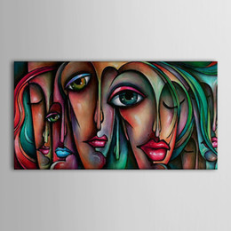 hand painted painting oil green Canada - hand painted modern Art painting kissing girls portrait oil painting ideas green lips canvas painting home decoration wall picture