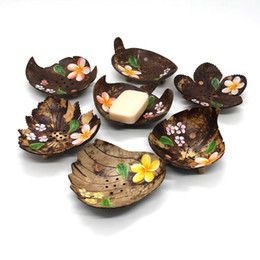 coconut flowers 2019 - Painted Flowers Creative Soap Dishes From Thailand Retro Wooden Bathroom Soap Coconut Shape Soap Dishes Holder Home Acce