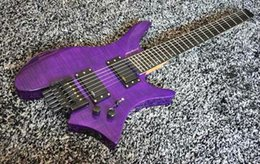 $enCountryForm.capitalKeyWord Australia - Top quality FDHL-008 transparent purple color tiger stripes cover rosewood fretboard headless electric guitar , Free shipping