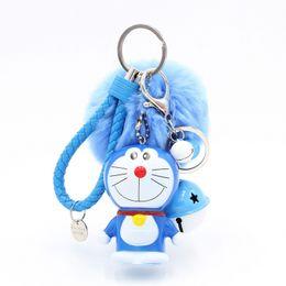 $enCountryForm.capitalKeyWord Australia - Cute Japanese Anime Cat Doraemon Keychain Ring Braided Rope Bell Rabbit Fur Pom Pom Car Keychain Key Ring Kids Toys Porte Clef