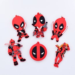 $enCountryForm.capitalKeyWord UK - Super Hero Q Version Marvel Anime PVC keychain Double Sided Anime Deadpool Silicone Key Chain Cartoon Figures Toy Dolls Bag keychain Gift