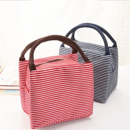 Heated luncH box online shopping - Canvas Lunch Box Bag Heat Insulation Collapsible Water Proof Stripe Wrap High Capacity Waterproof Picnic Package Portable ylb1