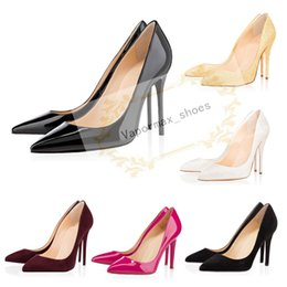 China 2020 Fashion luxury designer women shoes high heels 8cm 10cm 12cm Nude black red Leather Pointed Toes Pumps bottoms Dress shoes supplier high heeled black pink shoes suppliers