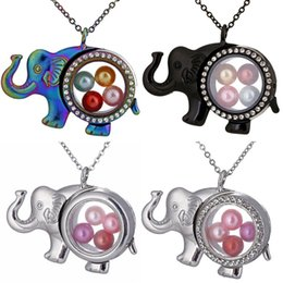 $enCountryForm.capitalKeyWord Australia - 2019 New Unicorn Elephant Owl Living Memory Beads Magnetic Glass Floating Locket Pendant Necklace Stainless Steel Pearl Cage Locket Charms