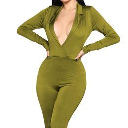 Beauty Garden 2019 Ventes Chaudes Femmes Sexy Combinaisons Pantalons Longs Couleur Unie Body Club V-Cou Plage Combinaisons S-XL en Solde