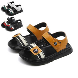 Brown Toddler Sandals Australia - Black Boys Leather Sandals 2019 Summer Kids Beach Shoes Toddler Sandal Girls Sandals Non Slip Children Shoes Brown White #17