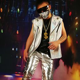 Discount motorcycle vests - Men Cool Silver Leather Vest Coat Stage Party Costume Custom Made Male Streetwear Fashion Hip Hop Sleeveless Motorcycle