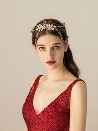 $enCountryForm.capitalKeyWord UK - Vintage Gold Rhinestone Flower Chain Headpiece Wedding Hair Accessories Special Occasion Headbands Bridal Tiara Crown Chinese Headband