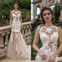 Ladies Lace dress pictures online shopping - Sexy Ladies Wedding Dress Mermaid Jewel Sheer Neck Appliques Lace Light Champagne Tulle See Throgh Bride Gowns vestido noiva