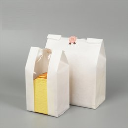 wholesale cake bags NZ - MAYZIN Bakery White Packaging Kraft Paper Bags With Window Square Bottom Bag for Bread Cake Sandwich