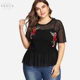 black rose blouse Australia - Size Plus Summer Black Blouse Women Slim Floral Round Neck Short Sleeve Embroidered Rose Applique Ruffle Mesh Sexy Club Top