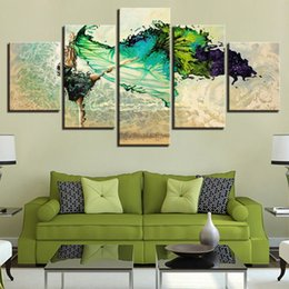 $enCountryForm.capitalKeyWord Australia - Dancing Lady Orchids young woman green gown 5 Pcs Combinations HD Unframed Canvas Painting Wall Decoration Printed Oil Painting poster
