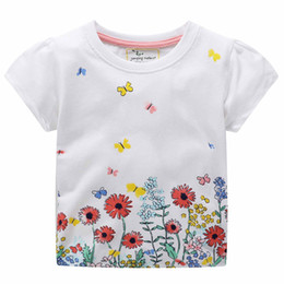 Girls Butterfly Shirt UK - Kid Baby Girls T Shirts Boutique Clothes Short Sleeve Tops White Flower Butterfly Printing Cotton T-shirt Tee Summer Clothing