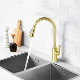 Kitchen Faucet Gold Australia - Kitchen Faucets Brushed Gold Torneira Para Cozinha De Parede Crane For Kitchen Water Mixer Tap Black Sink Mixer FaucetKitchen Faucets Brushe