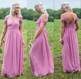 Black long v off shoulder dresses online shopping - Deep V Neck Coral Lavender Off Shoulder Chiffon Bridesmaid Dress Long Maid of Honor Dress Lake Blue Lilac Wedding Guest Gown BM0664