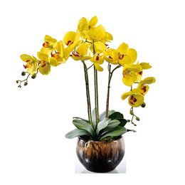 wholesale fake flowers shipped free Australia - INDIGO DIY Flower Arrangment Yellow Orchids (1 SET) Real Touch Flower Wedding Party Fake Decorative Event Free Shipping