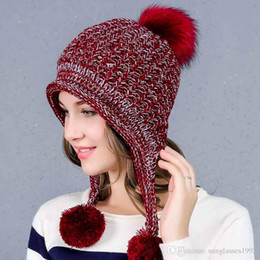 1f9b0f06abfa5 Winter Cute Ladies Warm Velvet Knit Hat Women Ear Protection Solid Color  Matching Wool Ball Cap