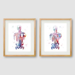 AbstrAct body pAinting wAll Art online shopping - Human Muscles Canvas Art Print And Poster Watercolor Muscular System Skeleton Anatomy Painting Body Art Medical Print Wall Decor
