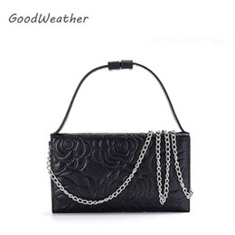 flower clutch bags NZ - Small flower print women bag crossbody 4 colors fashion chain bag for party genuine leather shoulder bags clutches woman bags