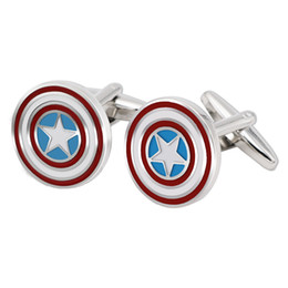$enCountryForm.capitalKeyWord UK - BXLE Captain America Shield Cufflinks, Unique Design Comics Cuff Button for Formal Wear or Wedding Suit & French Tuxedo Shirt Theme Party