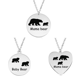 Laser Engraved Pendants NZ - Mama Bear Baby Bear Pendant Necklace Stainless Steel Laser Engraving Silver Jewelry Mother Son Daughter Kids Gift for Children Wholesale