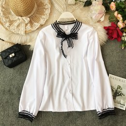 Knot Shirts Australia - Spring New 2019 Korean Slimming Butterfly Knot White Chiffon Shirt Women Long-sleeved Casual Blouse Tops G397