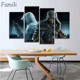 Wholesale Canvas Movie Prints Australia - Modern Canvas Painting Style Modular Wall Art Pictures Home Decor 4 Pieces Assassin Creed Photo HD Printed Movie Poster