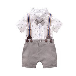 $enCountryForm.capitalKeyWord UK - New cotton newborn outfits boys suits newborn baby boy clothes Summer baby romper+suspender shorts boys clothes boys clothing sets A6323