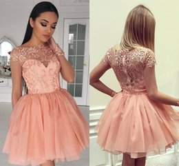 Cheap Cute Shorts Australia - Cute Pink Short Homecoming Dresses Cheap A-Line Long Sleeves Appliques Appliqued Mini Cocktail Prom Gowns Plus Size Custom Made