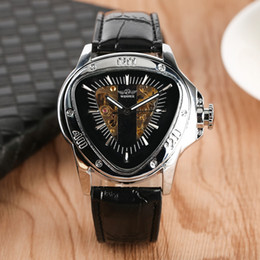$enCountryForm.capitalKeyWord Australia - Triangle Stainless Steel Case Leather Band Watch New Fashion Hollow-out Skeleton Automatic Mechanical Men Watch Luminous Function Watches