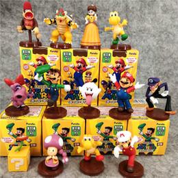 venda por atacado 5cm / 2 polegadas 13 estilos Super Mario Cego Box Bros Princesa Daisy Sapo Mario Luigi Yoshi Donkey Kong Cogumelo figuras de ação 13pcs / LA61 set