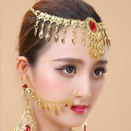 Gold Belly Dance Chains Australia - 1 Set Indian Belly Dance Nose Rings And Studs Ear Chain Women Gold Earrings Nose Necklace Hoop Show Accessories Earing Body Jewe