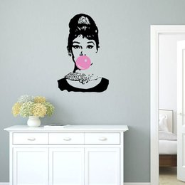 $enCountryForm.capitalKeyWord Australia - Banksy Wall Decals Vinyl The Girl Blowing the Pink Balloon Wall Art Audrey Hepburn Sticker Murals for Home Decor