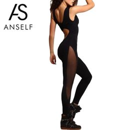 Women Sport Jumpsuits Australia - Sexy Women Sporting Jumpsuit Solid Mesh Splice O Neck Sleeveless Catsuit Leotards Female Fitness Playsuit Workout Pants Black Y19051501