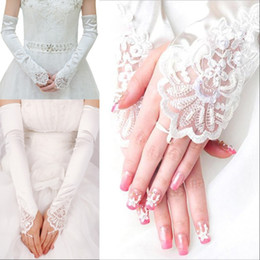 white beaded trim Australia - 2020 Cheap New Arrival Womens Long Gloves Fingerless Embroidery Lace Trim Beaded Sequins Bridal Wedding Accessory In Stock