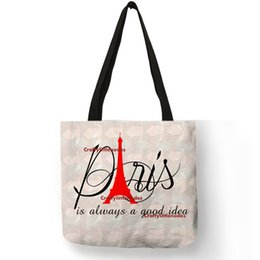 Simple Handbags For Ladies NZ - Simple Letter Style Tote Bag For Ladies Paris Solid Printed Shoulder Bag Eco Linen Women Reusable Office Travel Handbags