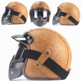 $enCountryForm.capitalKeyWord Canada - PU Leather Helmets 3 4 Motorcycle Chopper Bike helmet open face vintage motorcycle helmet with goggle mask
