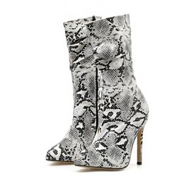 $enCountryForm.capitalKeyWord NZ - 2019 Luxury Women 11cm High Heels Boots Fetish Serpentine Sock Mid Calf Boots Dress Heels Scarpins Autumn Winter Design Shoes