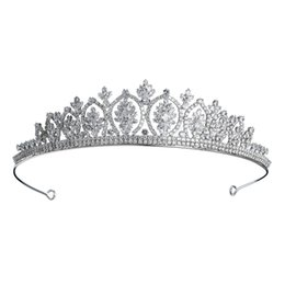 Discount celtic crowns tiaras - 2019 Newest Luxury Full CZ Crowns Bridal Cubic Zircon Flower Women Headpieces Wedding Bride's Tiaras for Party JCI0