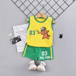 Boys Sleeveless Vest Australia - Baby Boy Vest Clothes Suit Cartoon Summer Sleeveless Active Outfit Kid Boy Letter Clothes Cotton Tees Sets 1 2 3 4 Boy Wear