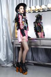 $enCountryForm.capitalKeyWord Australia - 2017 newest top quality women's ladies female's punk rivet Graffiti badges short motorcycle Locomotive leather jackets outwear fre