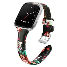 fitbit wristband straps UK - Leather Flower Smart Watch Band Strap Replacement Wristband for Fitbit Versa