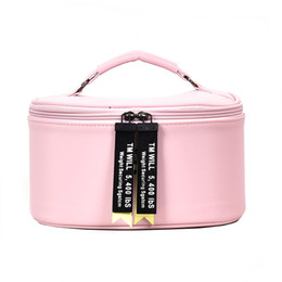 makeup bag cute korean UK - Hot Selling Korean Fashion Women Cute Round Leather Cosmetic Cases Professional Cosmetic Bag Makeup Bag Portable Storage Bag