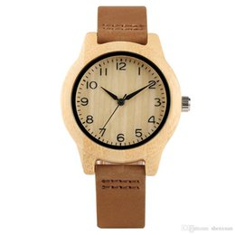 China Ladies Wood Watches Arabic Numeral Trendy Bracelet Genuine Leather Strap Girlfriend's Gift Yellow Nature Bamboo Clock suppliers