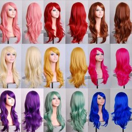 wig cosplay long blonde 2019 - Long Wavy Cosplay Wig Red Green Puprle Pink Black Blue Sliver Gray Blonde Brown 70 Cm Synthetic Hair Wigs cheap wig cosp
